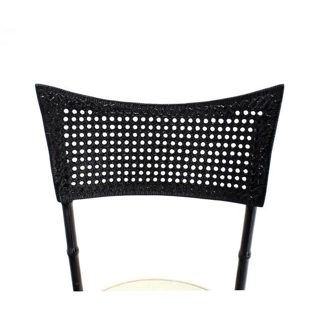 Early 20th Century Cast Aluminum Faux Bamboo and Cane Round Seat Chairs - Set of 4 For Sale - Image 5 of 11