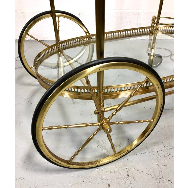 Metal Vintage Maison Jansen Style Brass Bar Cart / Trolley For Sale - Image 7 of 13
