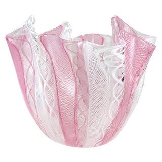 Bianconi Venini Murano Italian Pink White Art Glass Fazzoletto Handkerchief Vase For Sale