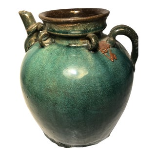 Late 20th Century Green Glaze Asian Jug For Sale