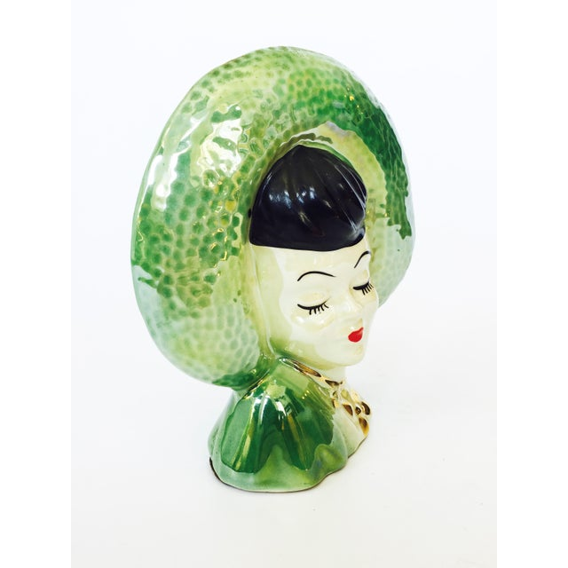 Vintage Green Lady Head Vase - Image 4 of 6