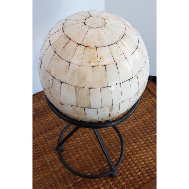 Art Deco Modern Handmade Shell Stone Mosaic Ball With Stand For Sale - Image 3 of 4