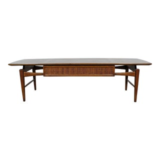 Mid-Century Modern Danish Lane Esteem Caned Floating Top Coffee Table 98301 For Sale