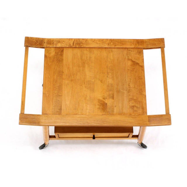 Mid-Century Modern Mid-Century Modern Solid Birch Cart Serving Table For Sale - Image 3 of 10