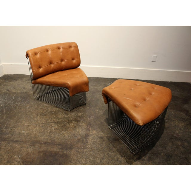 Rare Verner Panton for Fritz Hansen, Pantonova leather lounge chair and ottoman in original light-brown leather. Circa...