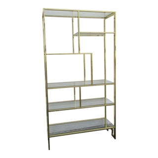 Hollywood Regency Tall Brass Finish Display Bookcase For Sale