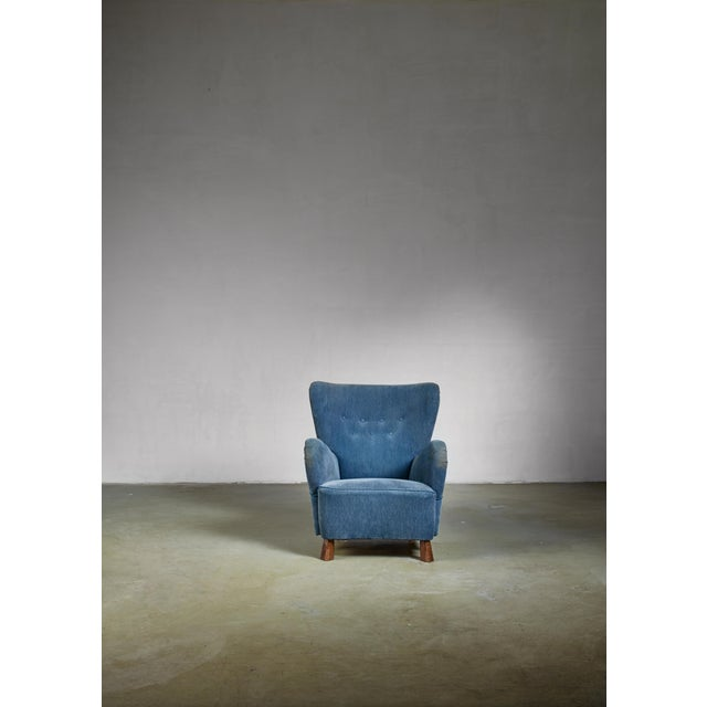 Boet Blue Otto Schulz Lounge Chair, Sweden, 1930s For Sale - Image 4 of 5