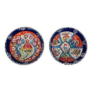 """Turkish Handmade Floral Ceramic 6"""" Bowls- Set of 2 For Sale"""