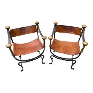 Early 20th Century Italian Wrought Iron & Leather Savonarola Chairs - a Pair For Sale