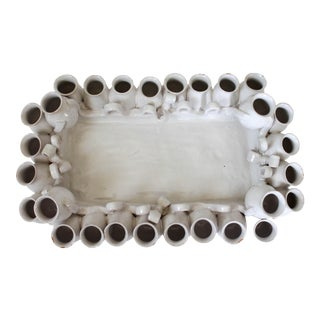 Italian Pottery Server Tray W/ Surrounding Vases For Sale