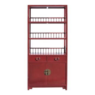 Chinese Distressed Matte Red 3 Shelves Bookcase Display Cabinet