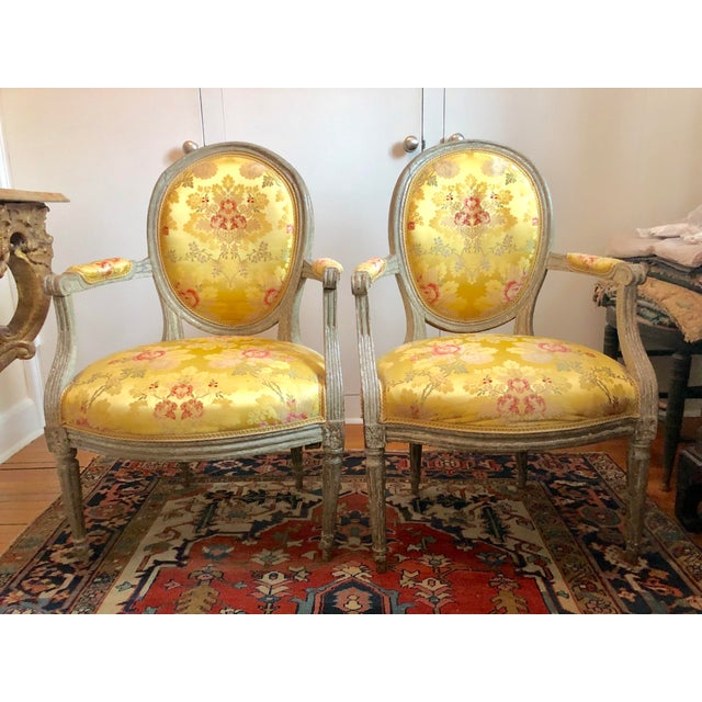 18th Century Vintage Louis XVI 1760s French Fauteuils- A Pair For Sale - Image 12 of 12