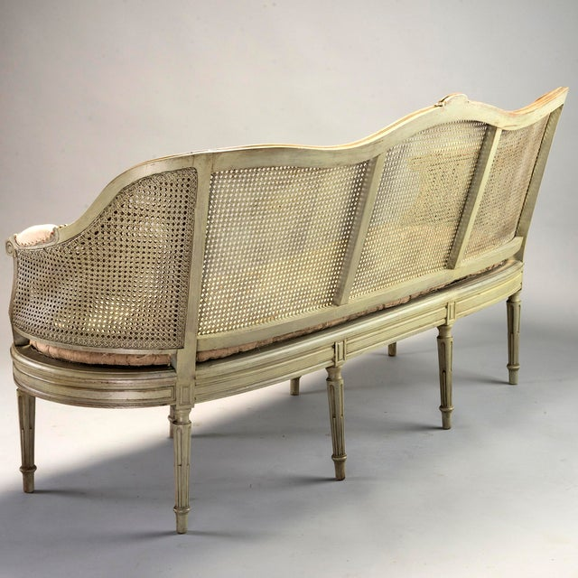 Painted Louis XVI Style Large Caned Settee With Original Cushion For Sale In Detroit - Image 6 of 11