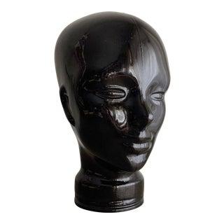 1970s Black Glass Mannequin Head For Sale