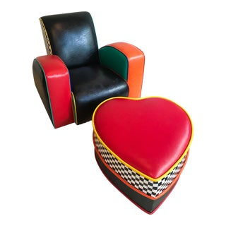 Harry Siegel Mephis Style Chair With Heart Shaped Ottoman, Colorful and Bright, 80's For Sale