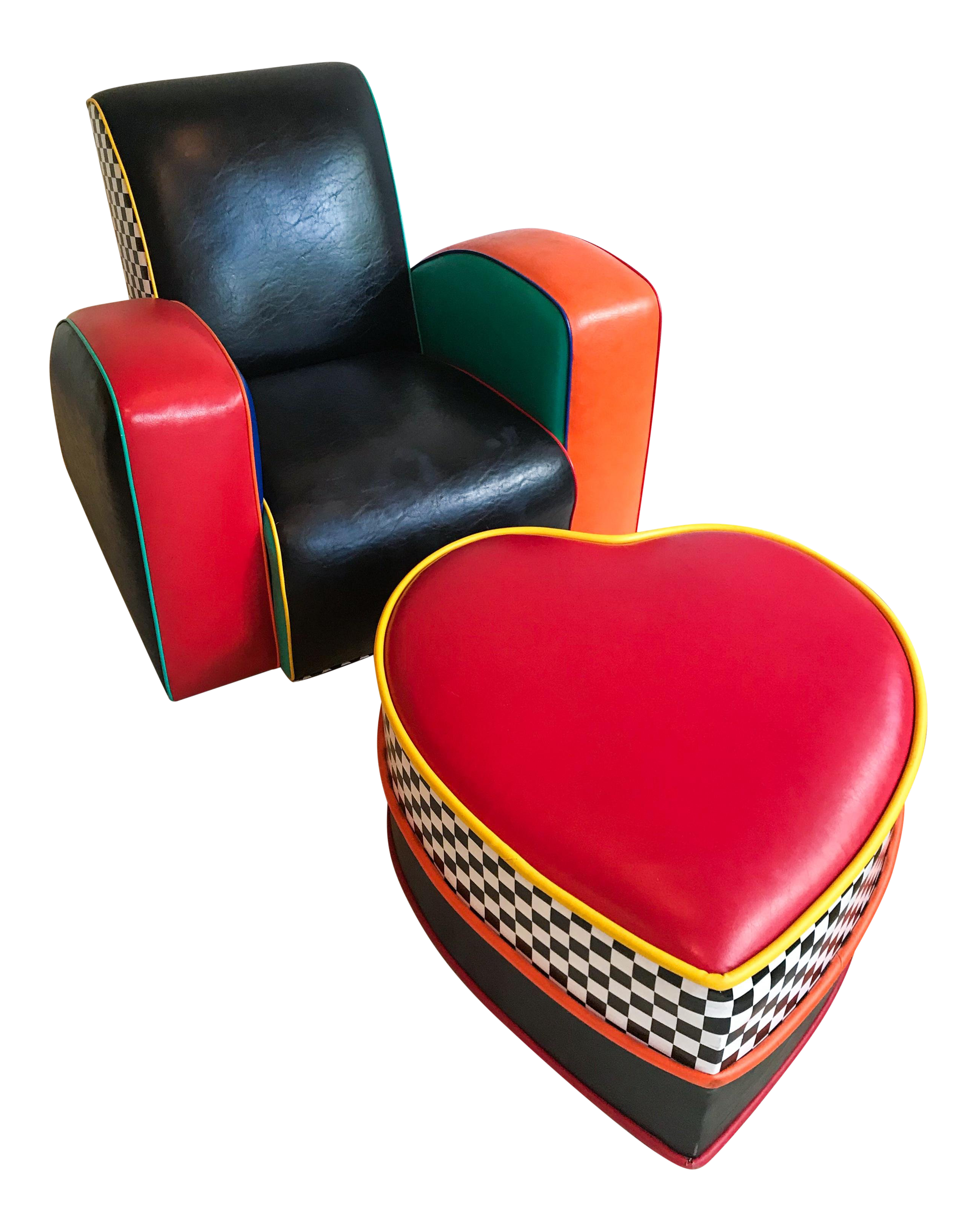 Harry Siegel Mephis Style Chair With Heart Shaped Ottoman, Colorful And  Bright, 80u0027s