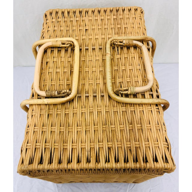 Brown Woven Wicker Filing Box For Sale - Image 8 of 12