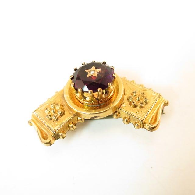 Purple Georgian 10k Gold Carved Amethyst Brooch1830 For Sale - Image 8 of 13