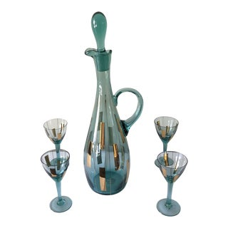 Mid-Century Teal Genie Holiday Decanter Set - 5 Pc. Set For Sale