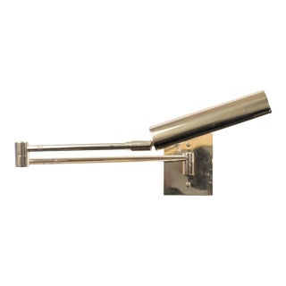 Koch & Lowy Swing Arm Articulating Brass Wall Reading Light For Sale