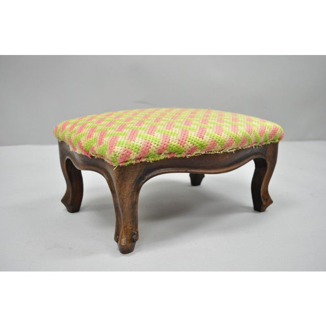 Early 20th Century Antique Louis XV Style Walnut Footstool For Sale - Image 10 of 12