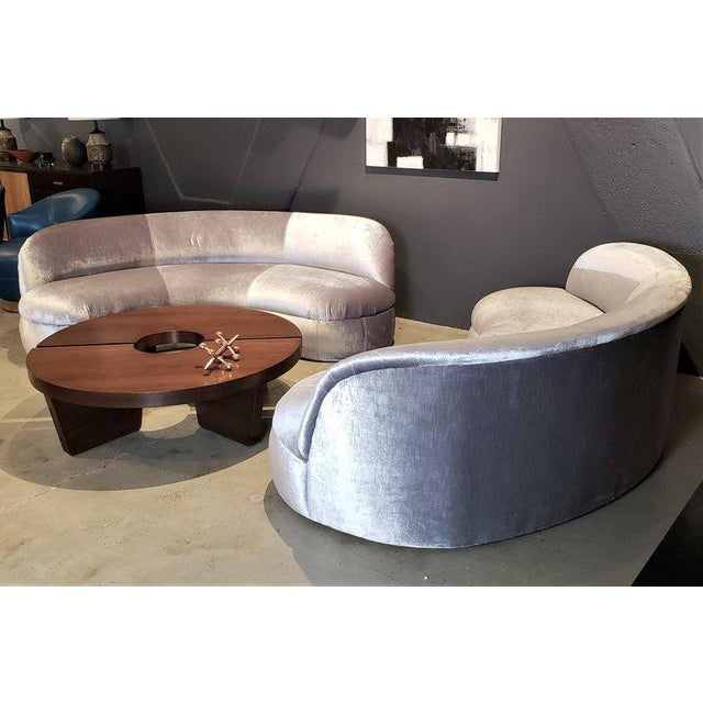 1980s Directional Kagan Style Restored Velvet Biomorphic Curved Sofas For Sale - Image 5 of 11