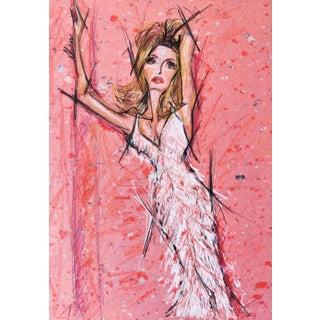 Color Pencil Portrait of Sharon Tate on A4 Limited Edition Handmade Paper For Sale