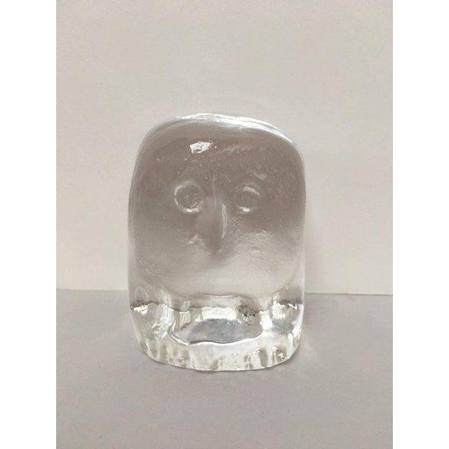 Mid-Century Modern Erik Höglund for Boda Scandinavian Modern Art Glass Owl For Sale - Image 3 of 10