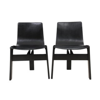 Mid Century Modern Angelo Mangiarotti for AgapeCasa Black Leather T Sling Chairs - a Pair For Sale