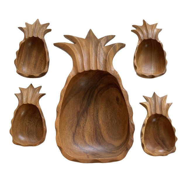 Mid-Century Modern Monkey Pod Pineapple Serving Dish and Bowls For Sale