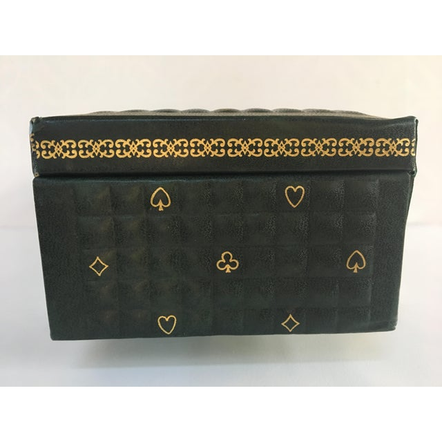 1950s Vintage Italian Quilted Green Card / Game Box For Sale - Image 10 of 13