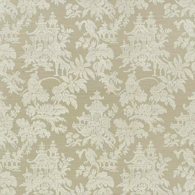 Sample - Schumacher Brighton Sisal Wallpaper in Sage For Sale