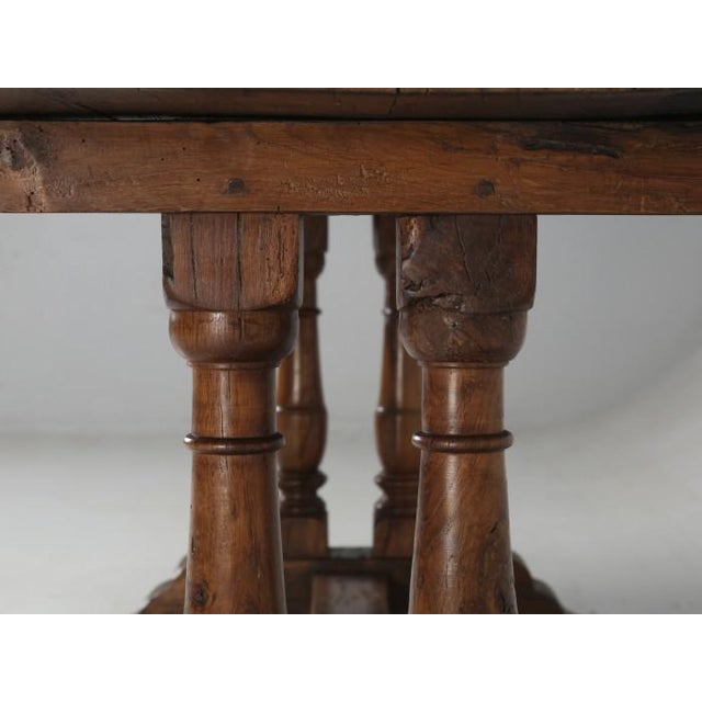 Antique French White Oak Trestle Table C. 1880 For Sale - Image 11 of 13