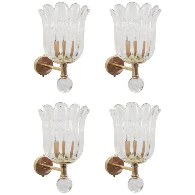 Brass Two Pairs of Scalloped Sconces by Barovier E Toso For Sale - Image 7 of 7