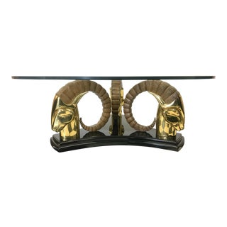 Hollywood Regency Brass Rams Head Coffee Table For Sale