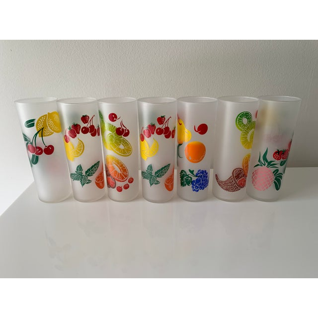 Mid 20th Century Vintage Mid Century Federal Glass Colorful Fruit Tumblers - Set of 7 For Sale - Image 5 of 5