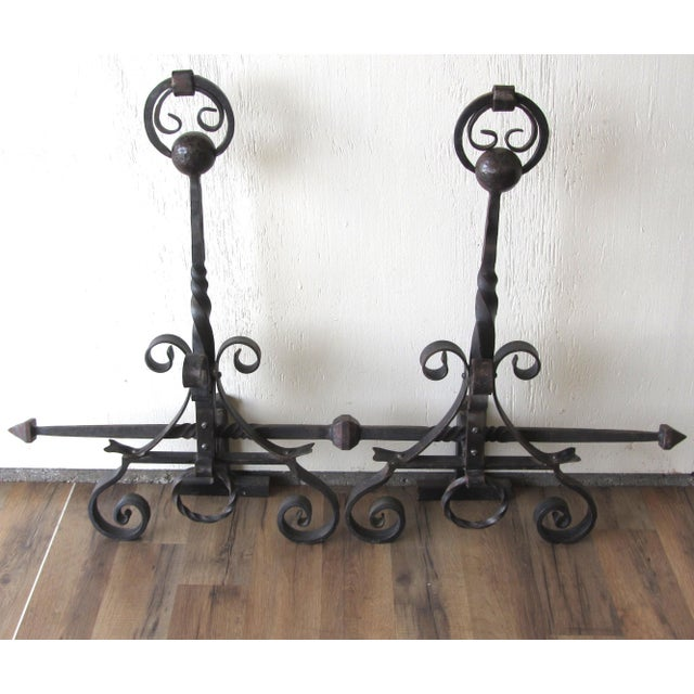 Lodge Hand Forged Wrought Iron Andirons - A Pair For Sale - Image 3 of 4