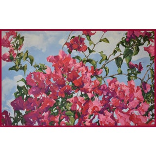 """""""Mother's Red Bougainvillea"""" Contemporary Expressionist Botanical Oil Painting by George Brinner, Framed"""
