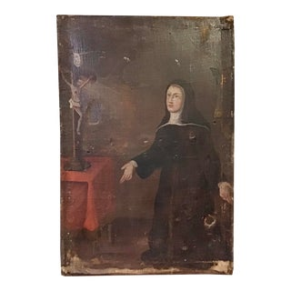 18th Century Spanish Colonial Oil on Canvas Painting For Sale