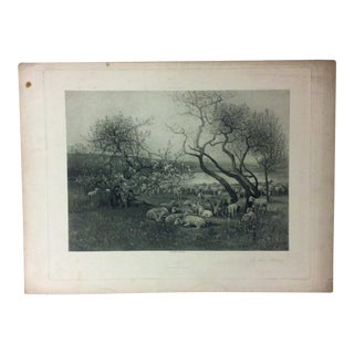 """Antique Photogravure on Paper, """"A May Morning"""" from D. Appleton & Co - Circa 1860 For Sale"""
