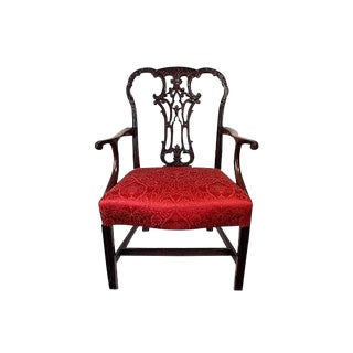 Late 18th Century Vintage English Georg III Carved Mahogany Armchair For Sale