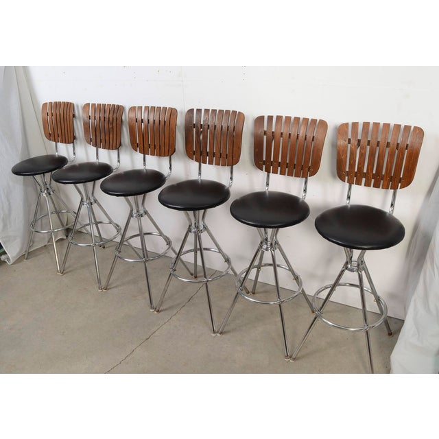 Set of Six Slat Back Bar Stools Umanoff Style Back. Seats swivel. Bar height Condition- Good Vintage Condition Seat...