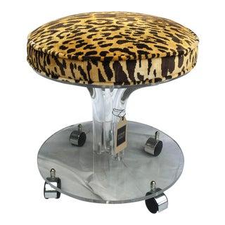 Acrylic Vanity Stool W/ Leopard For Sale