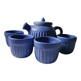 Vintage Mid-Century Blue Modern Bauer Tea Set For Sale