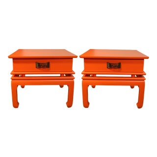 Pair of Mid-Century Orange Solid Wood & Brass Chinoiserie End Tables in the Manner of James Mont For Sale