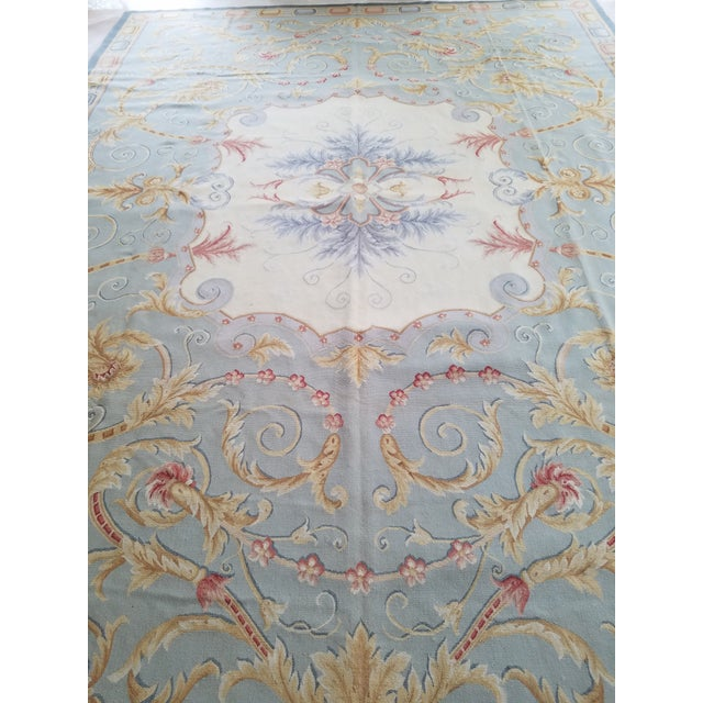 Handmade Blue Gray, Ivory, Gold and Teracotta Aubusson Style Area Rug - 8′10″ × 12′2″ For Sale - Image 4 of 8