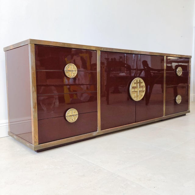 Asian Giacomo Sinopoli for Liwan's of Rome, Italy Bronze Asian Hardware Credenza Sideboard, 1972 For Sale - Image 3 of 12