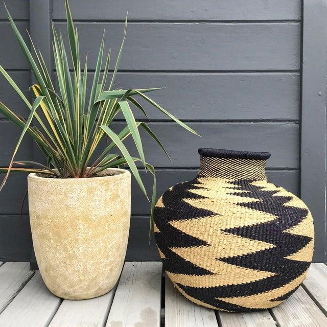 Folk Art Handwoven Ghanaian Basket For Sale - Image 3 of 4