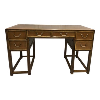 McGuire Oak and Rattan Desk For Sale