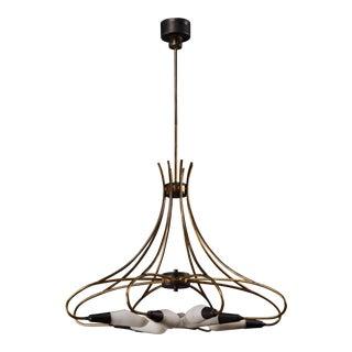 Curvilinear Italian Stilnovo Eight-Light Chandelier For Sale